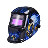 Nuzamas 太陽電源自動暗く溶接ヘルメット マスク溶接顔保護アーク Tig Mig 研削プラズマ切断用調節可能な日陰範囲 DIN4/9-13 UV/IV 保護 DIN16 ブルー ・ イーグル