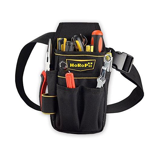 プロ職人 匠仕様 作業用 工具袋 腰袋 ウエストバッグ ベルト 付き 多様性バージョン ホルダー付 区分け 便利 仕切り付き ブラック