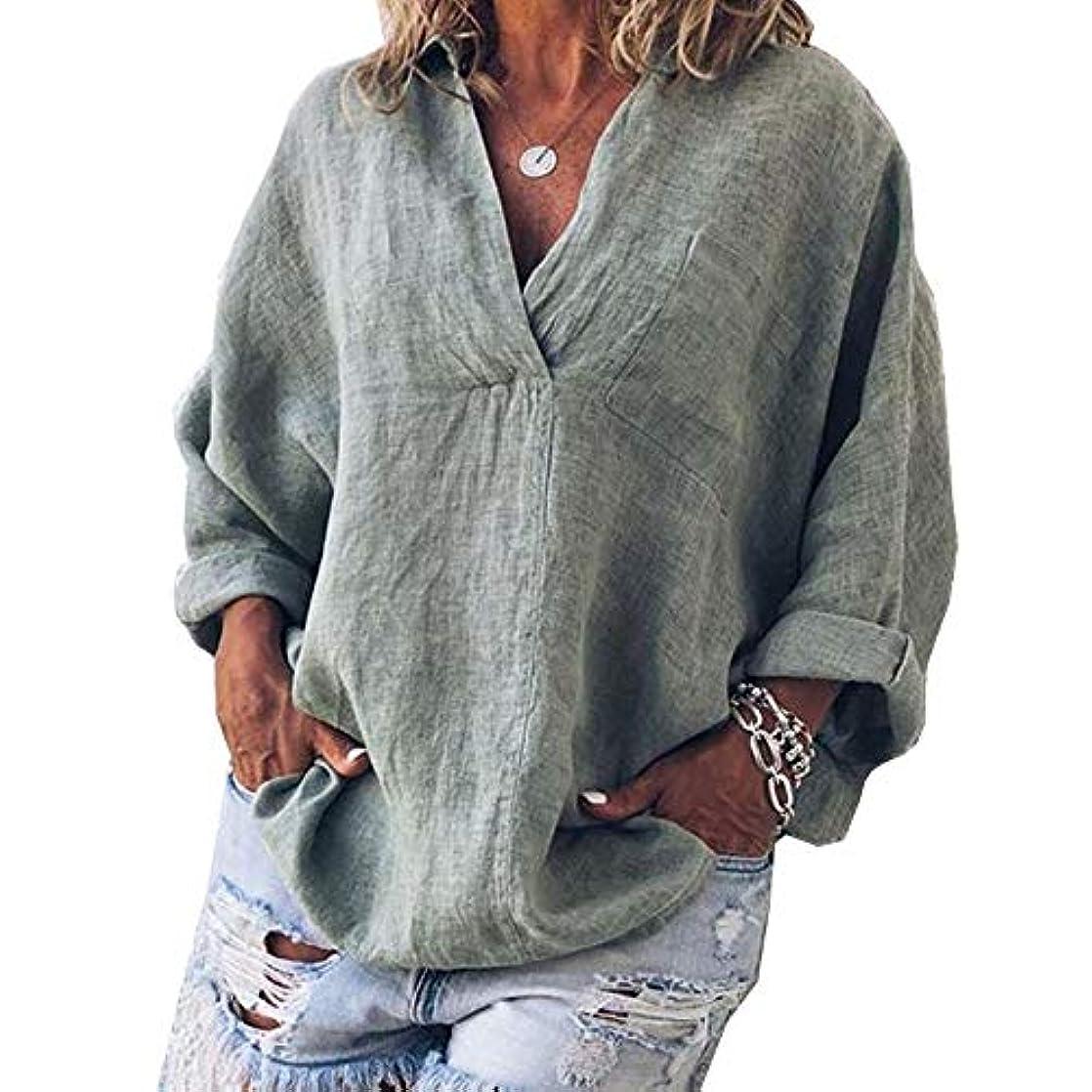 現実後ろ、背後、背面(部インタビューMIFAN女性ファッション春夏チュニックトップス深いVネックTシャツ長袖プルオーバールーズリネンブラウス