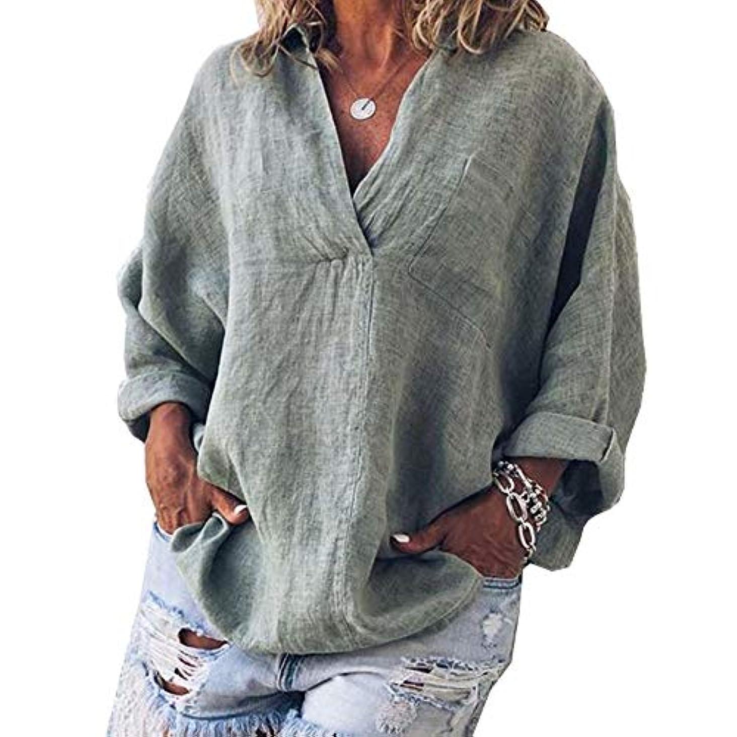 オペレーターに対処する葬儀MIFAN女性ファッション春夏チュニックトップス深いVネックTシャツ長袖プルオーバールーズリネンブラウス