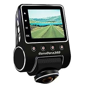 GuruDora360(ぐるドラ) ドライブレコーダー 360度録画 駐車中録画(赤外線照射付) Gセンサー フルHD 1080P