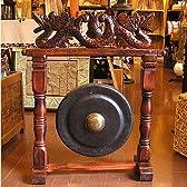 アジアの楽器 ゴング 銅鑼 どら ドラ 中 H.73cm アジアン雑貨