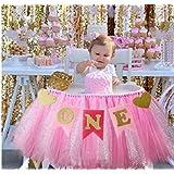Kaptin 1歳の誕生日 赤ちゃん 金 ピンク チュスカート バナー ハイチェア パーティー用品
