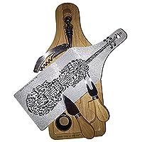 バイオリンシート音楽ワイン&チーズセットガラスカッティングボード