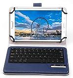 KuGi 9 ~ 10 インチ タブレット Bluetooth キーボード 東芝 Toshiba Android(TM)タブレット A205SB SoftBank など 9インチ ~ 10.1インチ タブレット PC 対応 Bluetooth キーボードケース ワイヤレス 一体型 脱着式 スタンドカバー 良質PUレザーケース付き 英語配列 キーボード 手帳型 ( ブルー )