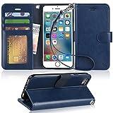 【Arae】iPhone6s ケース / iPhone6 ケース 手帳型「 スタンド機能 カードポッケト ストラップ」人気 おしゃれ 落下防止 衝撃吸収 財布型 おすすめ アイフォン6 / アイフォン6s 用 カバー ケース (ダークブルー)