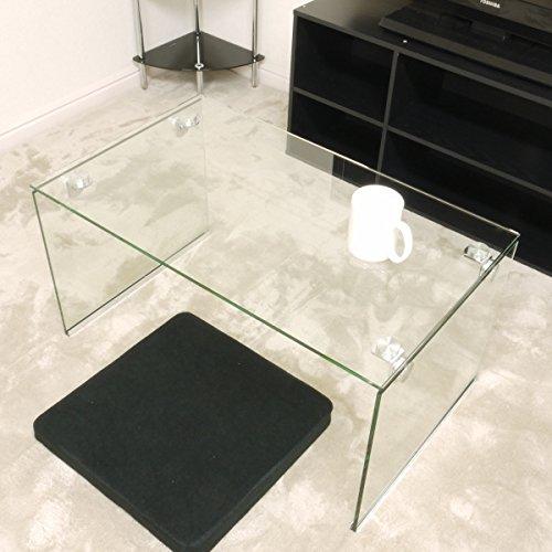 ガラステーブル クリア(透明) 75cm幅 ローテーブル セン...
