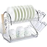 "2 Tier Kitchen Dish Drying Rack with Drain Board, Dish Organizer, Kitchen Organizer, Large Capacity 16.5""Lx10""Wx15""H, Plated"