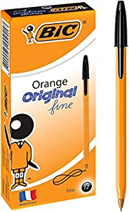 BIC 952000 Orange Fine Ball Point Pen (0.8 mm) - Black Ink - Box of 12 Pens