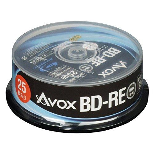 AVOX ブルーレイディスク BD-RE 繰り返し録画用 25G 1-2倍速 25枚 スピンドルケース BE130RAPW25PA