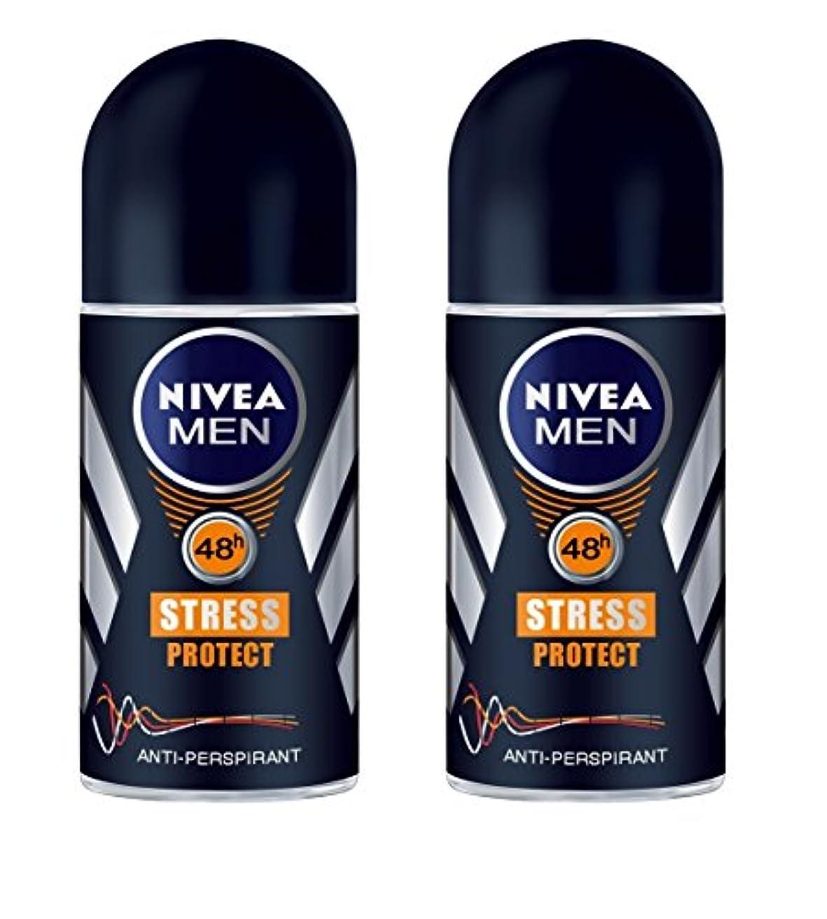 おしゃれな原理ビルダー(Pack of 2) Nivea Stress Protect Anti-perspirant Deodorant Roll On for Men 2x50ml - (2パック) ニベア応力プロテクト制汗剤デオドラントロールオン男性用2x50ml