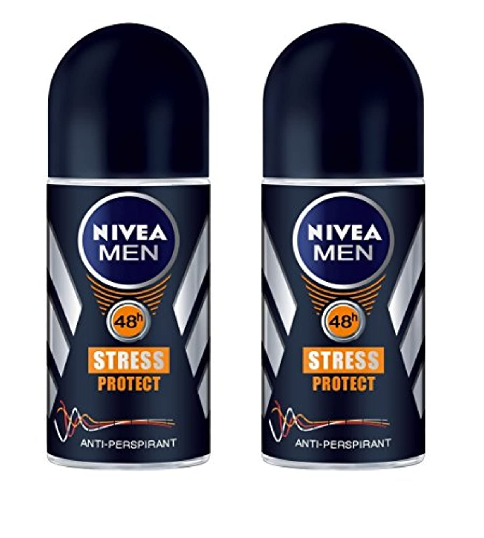 ハドル驚学習者(Pack of 2) Nivea Stress Protect Anti-perspirant Deodorant Roll On for Men 2x50ml - (2パック) ニベア応力プロテクト制汗剤デオドラントロールオン男性用2x50ml