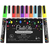 Fine Tip Chalk Markers - Pack of 10 neon color pens - Non-Toxic Wet Erase Chalkboard, Whiteboard, Window Glass Pen - 3mm reversible bullet & chisel nib