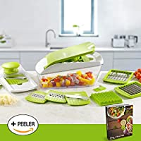 Chop 'n' Slice Pro - Mandolin & Chopper with Storage Lid - 7 Interchangeable Blades for Chopping, Slicing, Cutting, Dicing, Grating & Julienne Slicing - Perpetual Peeler and eBook included by Savant Kitchen
