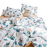 MENRAIBO掛け布団カバー寝具セット セミダブル ボックスシーツ枕カバー綿100%通気性が良くキュートな柄で爽やかです (森の動物柄xホワイト, セミダブル)