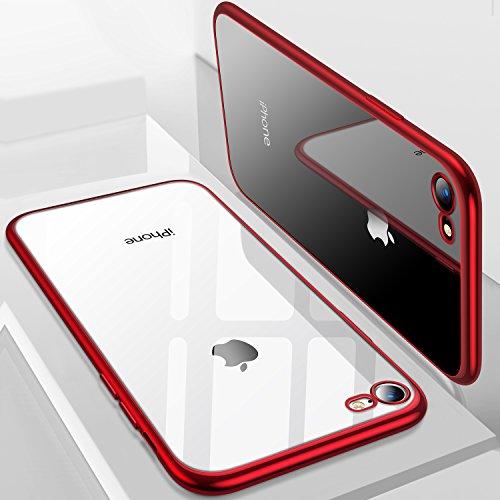 TORRAS iPhone8 ケース/iPhone7 ケース【高品質TPU/背面クリア+メッキ加工/Qi充電対応】薄型 ソフト アイフォン8/7 用 耐衝撃カバー(レッド)