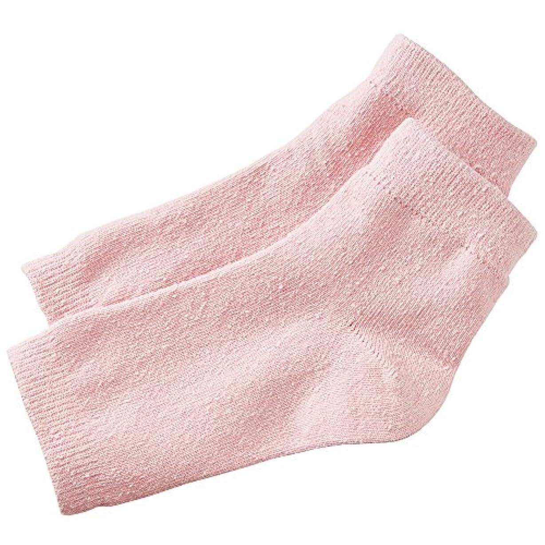 氷香ばしい小切手セルヴァン シルク混おやすみかかとカバー ピンク