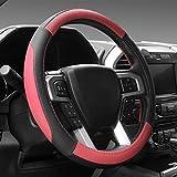 SEG Direct ブラック&レッド マイクロファイバー革ハンドルカバー 外径約39.5cmから40.5cmまでのレンジローバー用