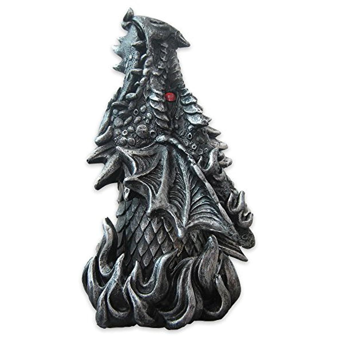 リボン家禽忠実Dragon Figure Cone Incense Burner Fiery Eyes - Gothic Smoke Breathing Decor