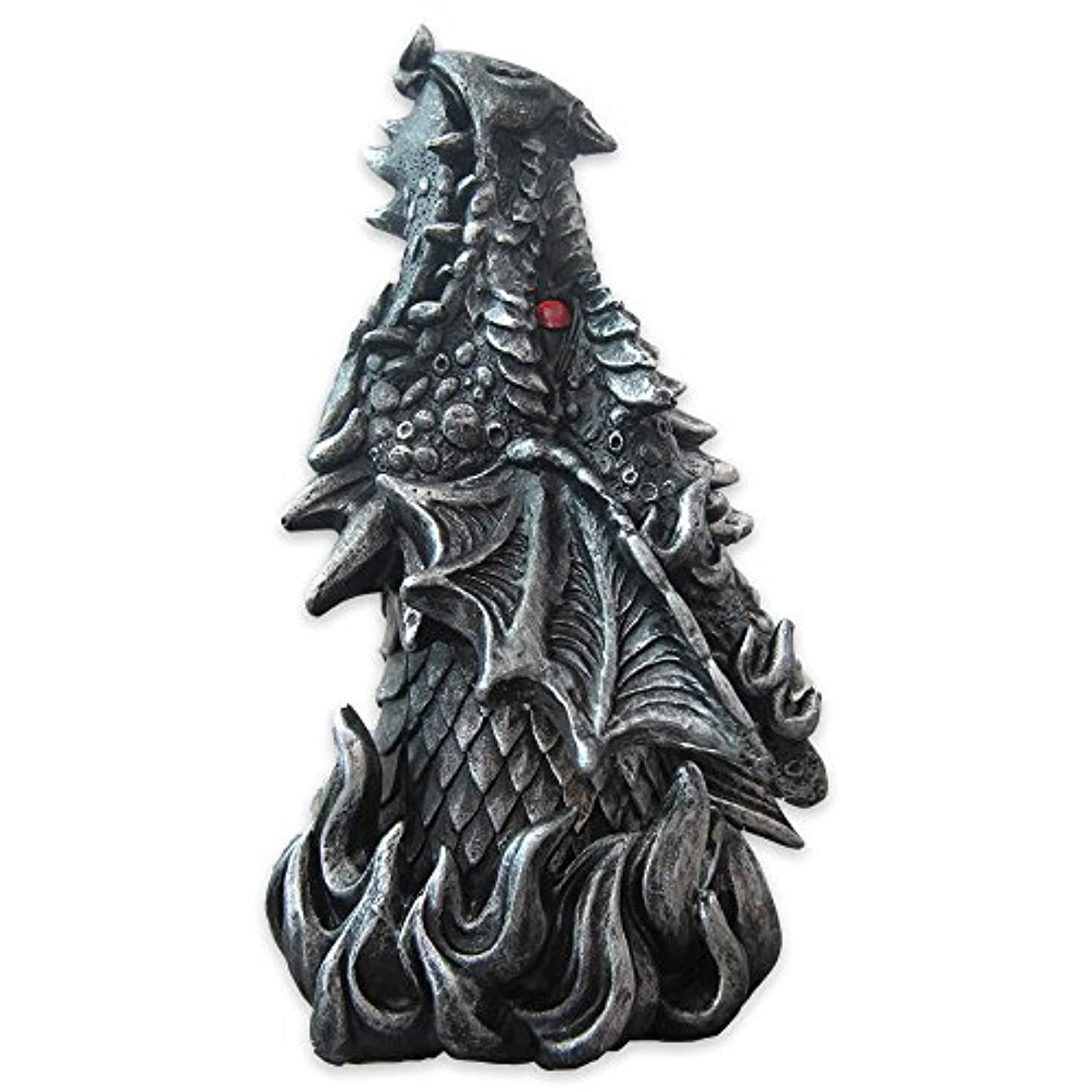 Dragon Figure Cone Incense Burner Fiery Eyes - Gothic Smoke Breathing Decor
