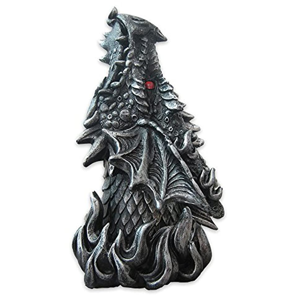 罪人区別啓発するDragon Figure Cone Incense Burner Fiery Eyes - Gothic Smoke Breathing Decor