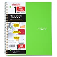 Five Star Wirebound Notebook, 1-Subject, 100 Wide-Ruled Sheets, 10.5 x 8 Inch Sheet Size, Lime (72122) by Five Star