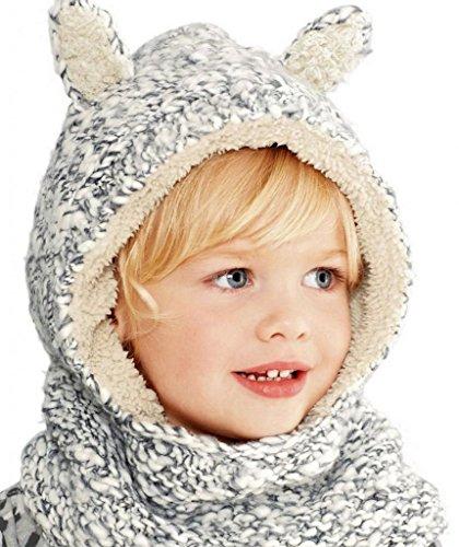 (ラボーグ) La Vogue ニット帽 ニットキャップ 帽子 男の子女の子兼用 子ども キッズ フード付ボアネックウ...
