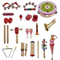 Fenteer 全2種類 楽器 おもちゃ ベビー 木製楽器おもちゃ 約22個 - 女の子のセット