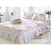 iHomie ベッドスカート 2点セット セミダブル  姫系 可愛い 綿100% レース ホワイト 枕カバー*1