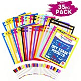 "Dry Erase Pockets 35pc [10"" x 13""] +Free PENS +Bonus 900 Downloadable Worksheets! Write and Wipe Reusable Plastic Sheet Protectors for Classroom Organization & Teaching Supplies by Teachers Toolbox"