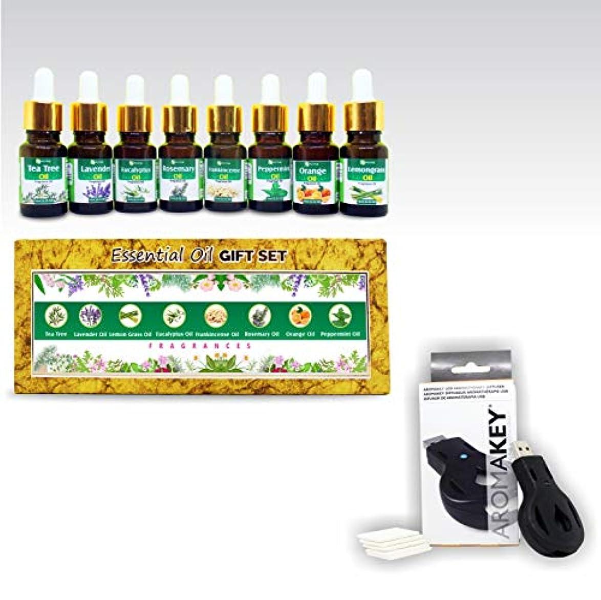 マザーランド愚かリズムAromatherapy Essential Oils - Gift set (Pack of 8) 100% Pure & Natural Plus Aromakey USB Personal Diffuser, Humidifier...
