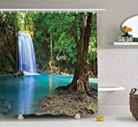 (180cm W By 180cm L, Multi 6) - Woodland Decor Shower Curtain Set By Ambesonne, Waterfall Asia Thailand Jungle Tropic Plants Trees Waterscape Tourist Attraction, Bathroom Accessories, 69W X 70L Inches