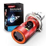 LED バイク用ヘッドライト H4/HS1 Hi/Lo Camelight 最新製品 安全警告用LED付き レッドライト エンジェルアイ 直流12V/24V共用 白光6000K(カラー:赤)1個