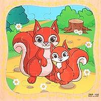 HuaQingPiJu-JP 創造的な木製動物の教育パズルアーリーラーニング番号の形の色の動物のおもちゃ子供のための素晴らしいギフト(リス)