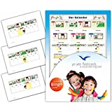 Calendar Flashcards in German Language - Flash Cards with Matching Bingo Game for Toddlers, Kids, Children and Adults - Size 4.13 × 5.83 in - DIN A6