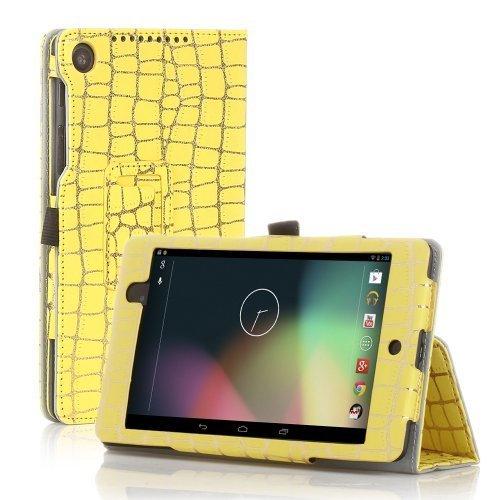 TNP Google Nexus 7FHD 2nd Gen Case–スリムフィット合成レザーフォリオケーススタンドwithスマートカバー自動スリープ・ウェイク機能とスタイラスホルダーfor Googleネクサス27.0インチ2013タブレット 7 Inch GL_NX7_2_LC_BMB_YLW