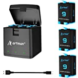 Artman 3-Pack Replacement Batteries and 3-Channel USB Storage Quick Charger for Hero 9 Black, Fully Compatible with Hero 9 Or