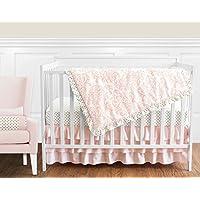 Blush Pink White Damask and Gold Polka Dot Amelia Girl Baby Bedding 4 Piece Crib Set Without Bumper [並行輸入品]