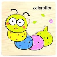 POOM木製パズル赤ちゃんのおもちゃかわいい漫画の動物の知能ゲーム子供知育玩具 A014 体操子供ジグソーパズルパズル
