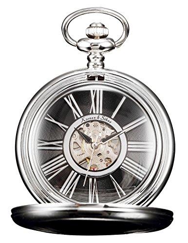 [해외]KS 해골 로마 숫자 태엽 기계식 회중 시계/KS Skeleton Roman Numeral Manual Winding Mechanical Pocket Watch