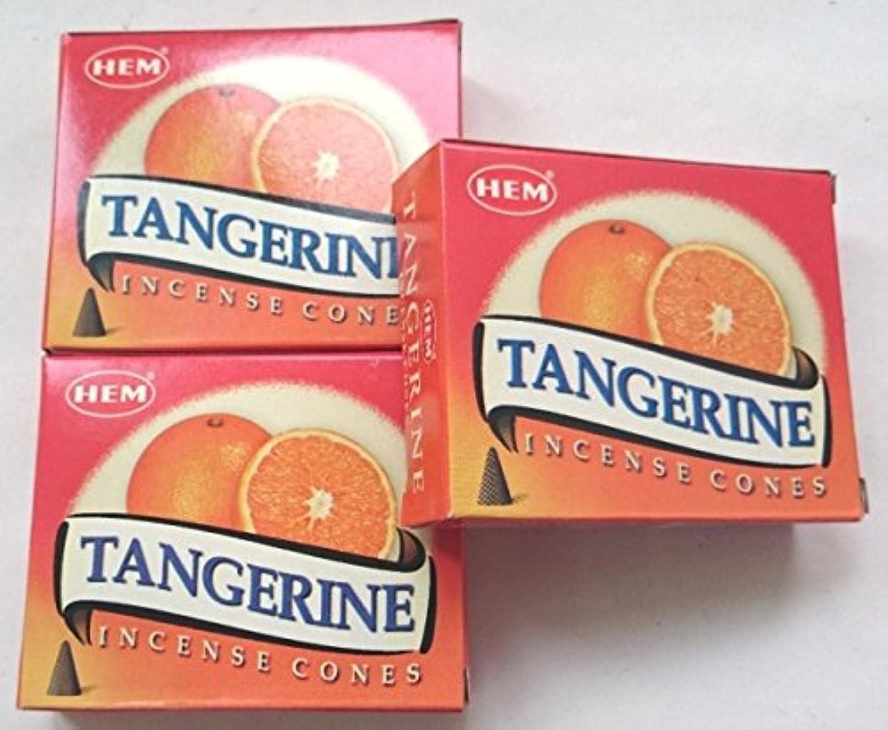 時折批評与えるHEM(ヘム)お香 タンジェリン(オレンジ) コーン 3個セット