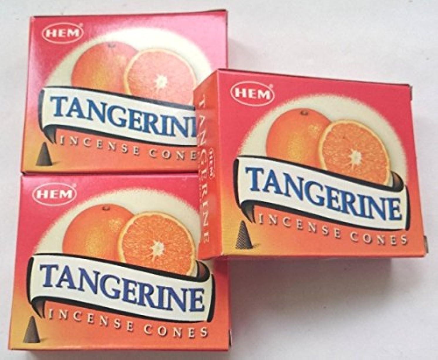 日帰り旅行にシーンすすり泣きHEM(ヘム)お香 タンジェリン(オレンジ) コーン 3個セット