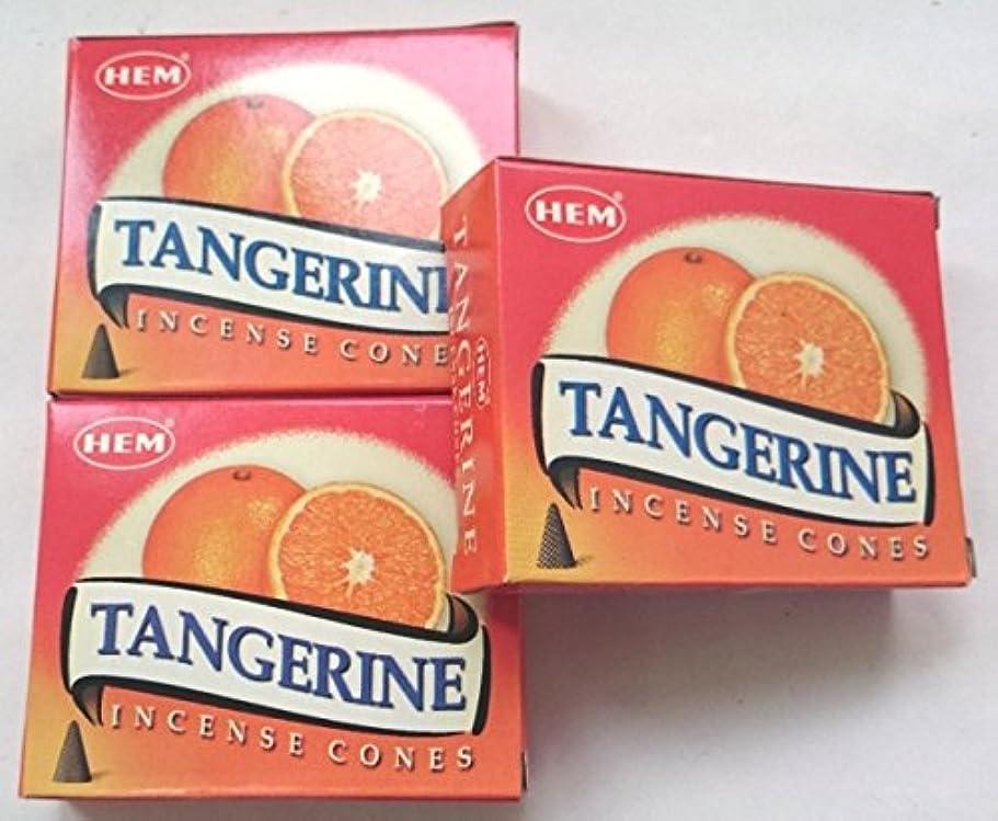 航空便副詞引っ張るHEM(ヘム)お香 タンジェリン(オレンジ) コーン 3個セット
