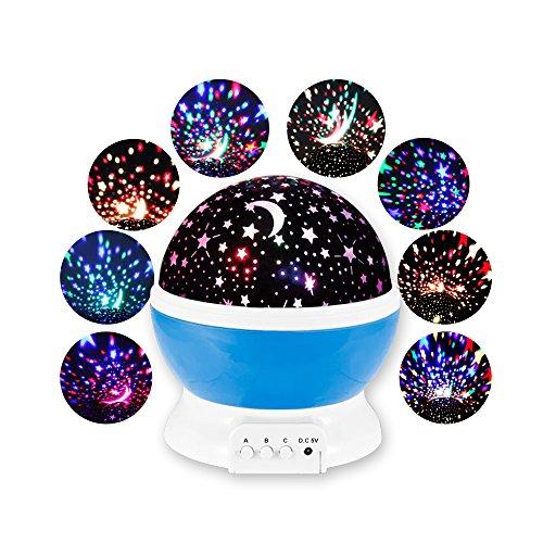 スタープロジェクター 家庭用 簡易プラネタリウム 360°回転灯 美しい星空 リラックスタイム LEDライト USB 電池 兼用 室内用スタープロジェクター お部屋に満点の星空が広がる ブルー (星つき、ハローキティ、ドラえもん) (星つき)