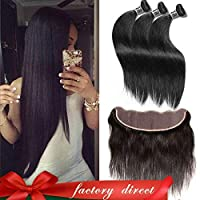 Aliglossy hair Peruvian Virgin hair straight with lace Frontal Closure 13X4 inch ear to ear lace frontal with bundles 3 Bundles straight Hair with closure Natural Color (22 24 26 with 20) [並行輸入品]
