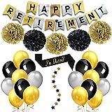 退職パーティー 飾り セット 定年 お祝い イベント happy retirement バナー バルーン 風船 ゴールド シルバー ブラック ペーパーフラワー ペーパーポンポン 肩紐 スター バナー 27枚セット