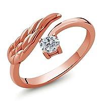 Gem Stone King 0.25カラット 天然 ダイヤモンド シルバー925 ピンクゴールドコーティング 指輪 リング