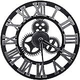 大3dヴィンテージウォールクロック、ローマ数字の壁時計、工業用ギアレトロ時計装飾用リビングルームレストランオフィスバーキッチン研究服店、80センチ,32inch