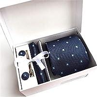 【最終価額セール】 メンズ ネクタイ 洗える ピン カフス ボタン チーフ 5点セット 22種類選択可 ビジネス 就活 結婚式 入学式 パーティー プレゼント ギフトボックス付き blue06