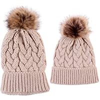 Mum and Bub Matching Beanie Set, 2PCS Parent-Child Hat Warmer, Mom Baby Hat Set Soft Child Family Matching Winter Warm Crochet Beanie Hat Ski Cap (Beige)
